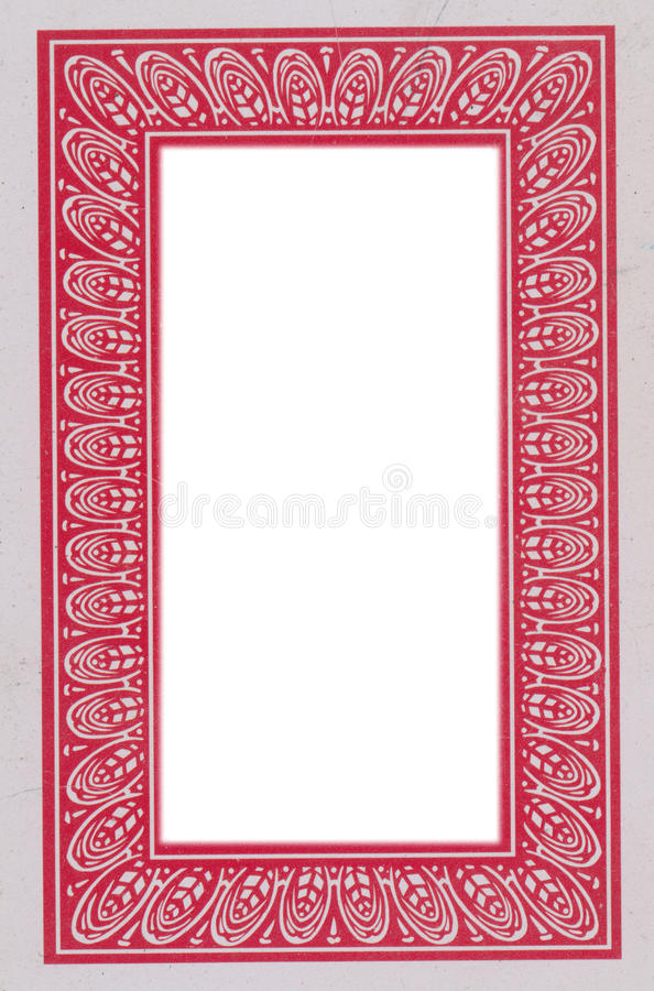 Old Playing Card Cover Frame With Isolated In White Hole Stock Image ...
