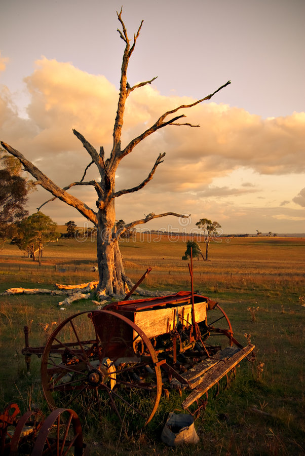 Download Old Plough On Farm At Sunset Stock Image - Image of neglected, rusting: 2302863