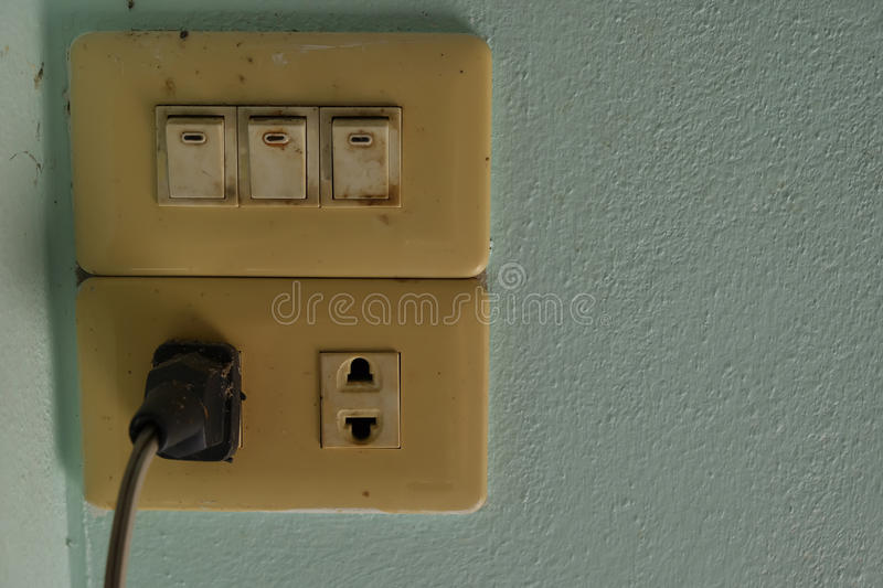 Old plugs and switches. Home royalty free stock photos