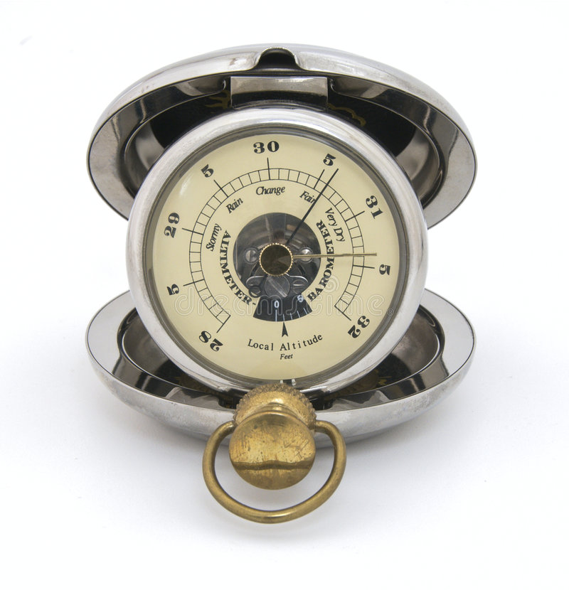 Old pocket barometer, fair weather royalty free stock photo