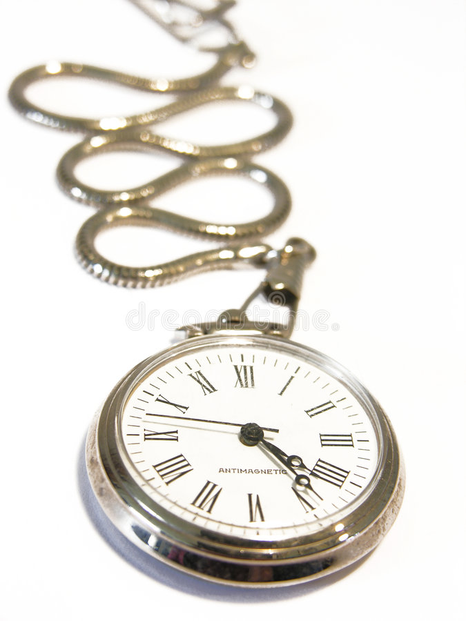 Old pocket watch. Old silver pocket watch isolated on a white background royalty free stock photos