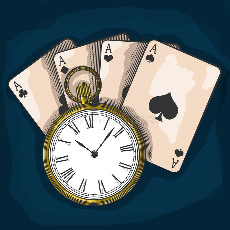 Free Old Pocket Watch And Playing Cards Stock Image - 48451421