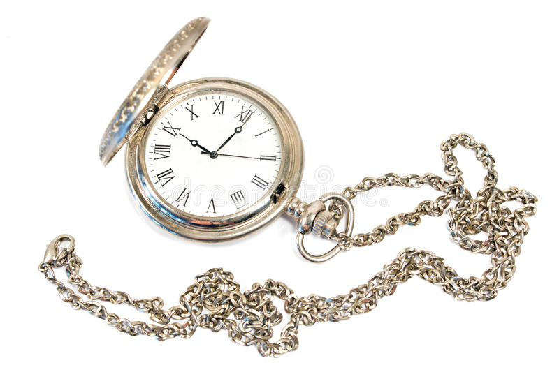 Old pocket watch with chain. Isolated on white royalty free stock photos