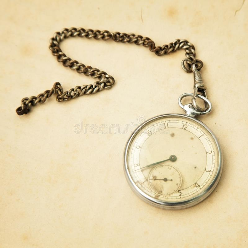 Old pocket watch and copy space royalty free stock photography