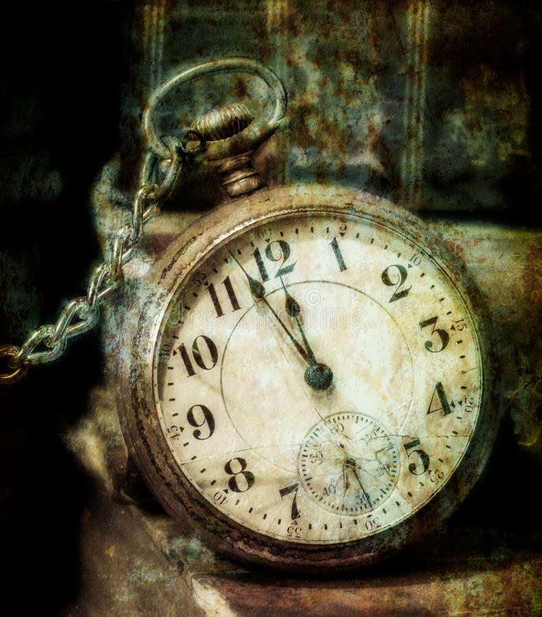 Old Pocket Watch Grungy Style royalty free illustration