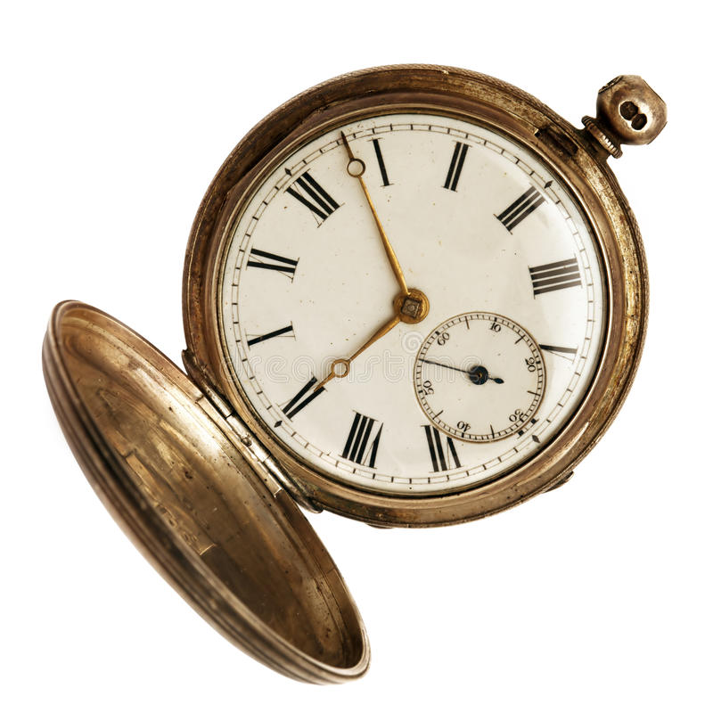 Free Old Pocket Watch Isolated On White Royalty Free Stock Photos - 26382958