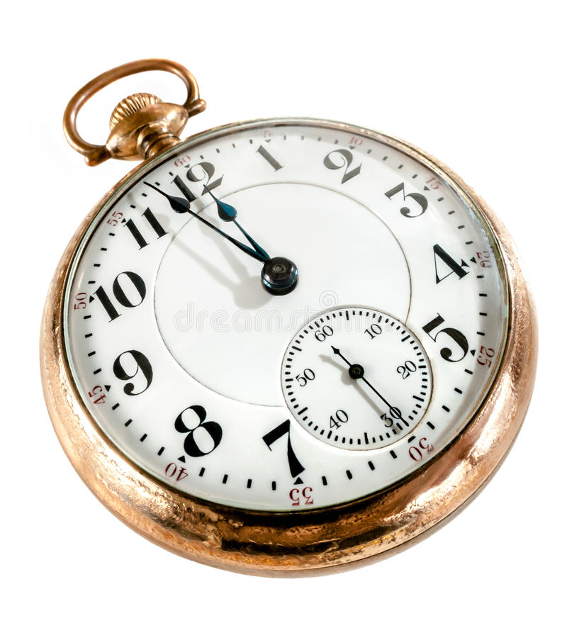 Free Old Pocket Watch Isolated On White Background Royalty Free Stock Photography - 25741407