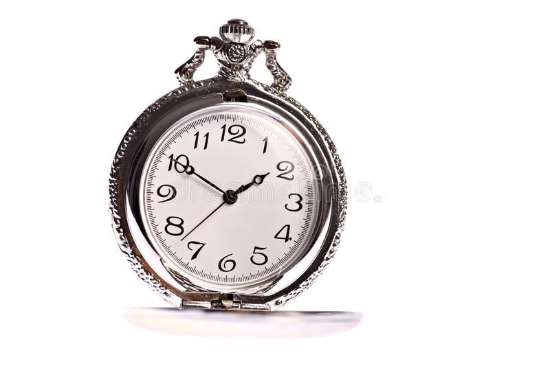 Old pocket watch isolated on white. Old silver pocket watch isolated on white background royalty free stock photography