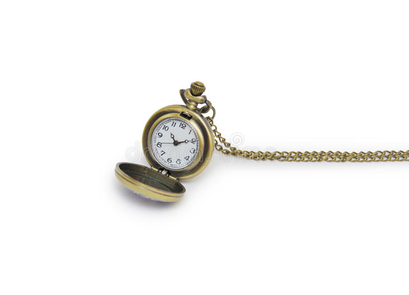 Old pocket watch isolated on white background. Old pocket watch isolated on the white background royalty free stock images