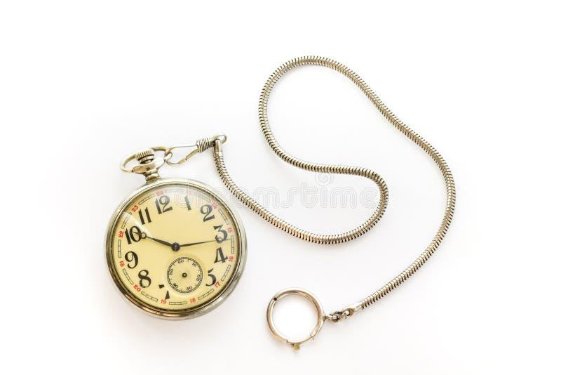 Old pocket watch. Isolated on white background stock image