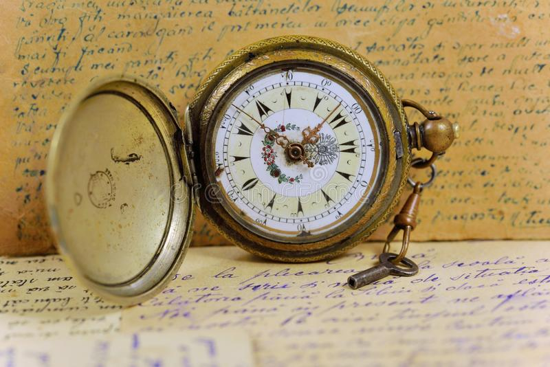 Old pocket watch with key royalty free stock images