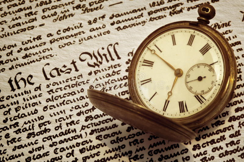 Old Pocket Watch and Will royalty free stock image