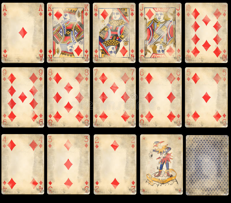 Old Poker Playing Cards - Diamonds. Old classic playing cards isolated on black background: diamonds suit with joker and back royalty free stock images