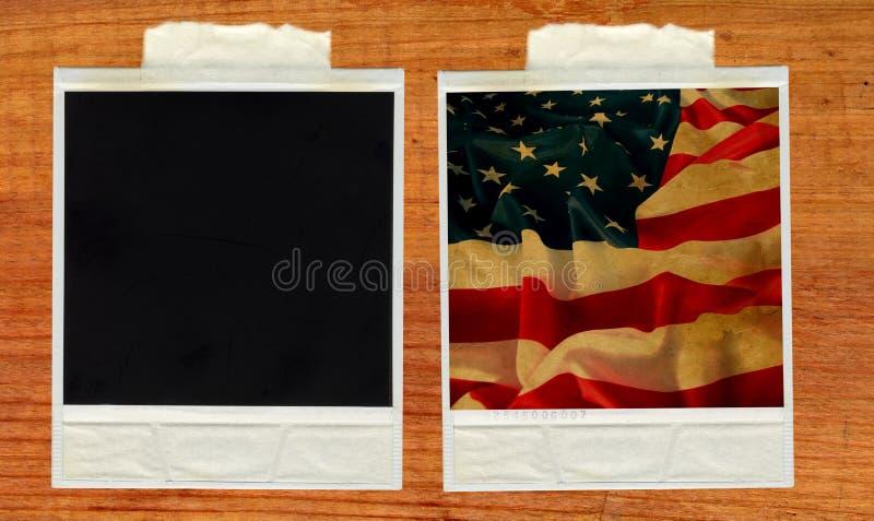 Old polaroid card with vintage flag USA stock photo