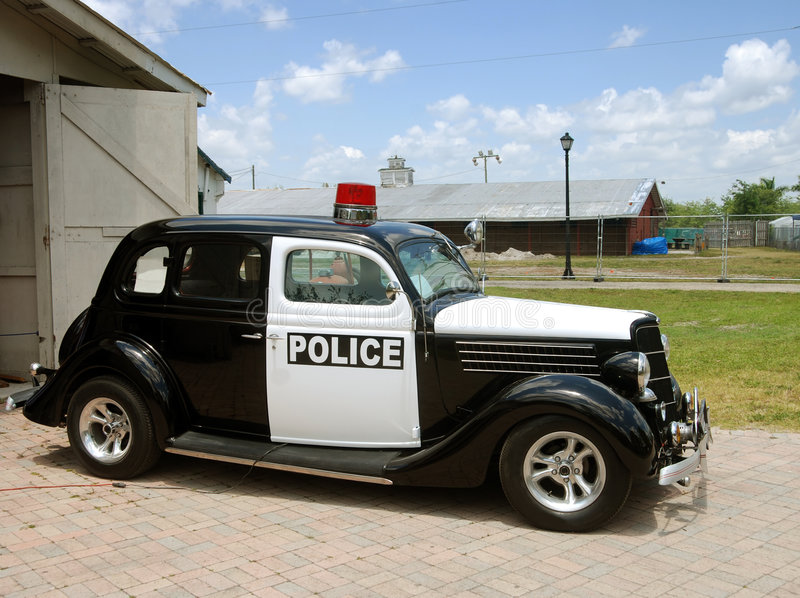 Old police car stock photos