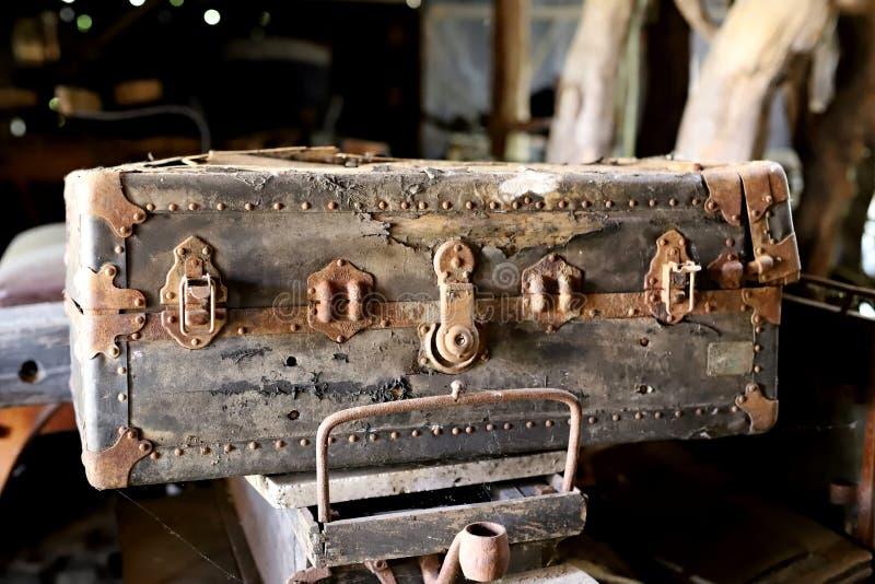 old polish suitcase stock photo