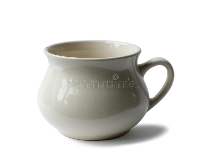 Old porcelain empty cup. On white background, isolated stock images