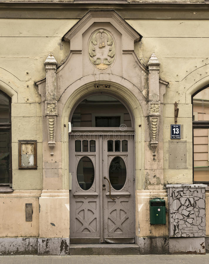 Old porch in art Nouveau style. Riga, Latvia. Door of the old apartment building in art Nouveau style at the address: Pils street, 13. Riga, Latvia stock image