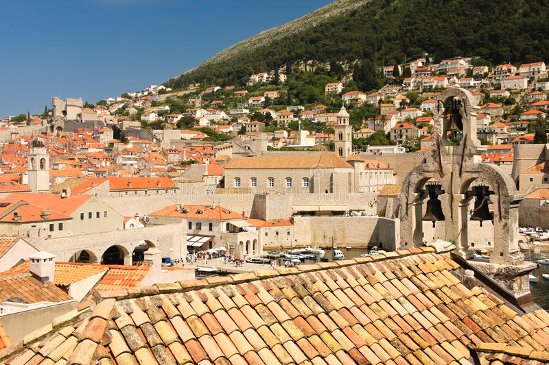 Old port. Dubrovnik. Croatia. Rooftops in the old town. Old port, dominican monastery bell tower and three-bell wall of the Maritime Museum (pomorski muzej) royalty free stock image