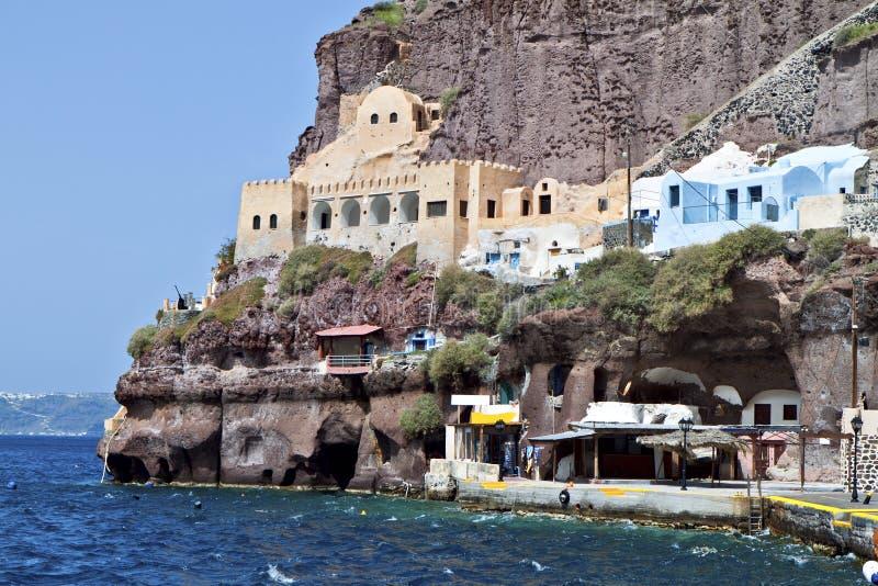 Old port of Fira at Santorini island