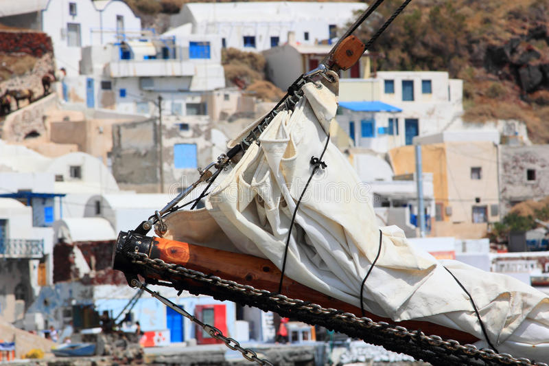 Old Port Of Fira Santorini Island Greece Stock Image
