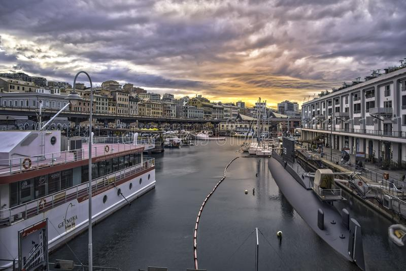 Old port Genoa royalty free stock photo