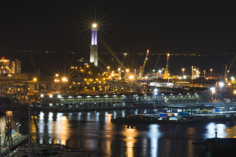 Old Port of Genova by night stock photos