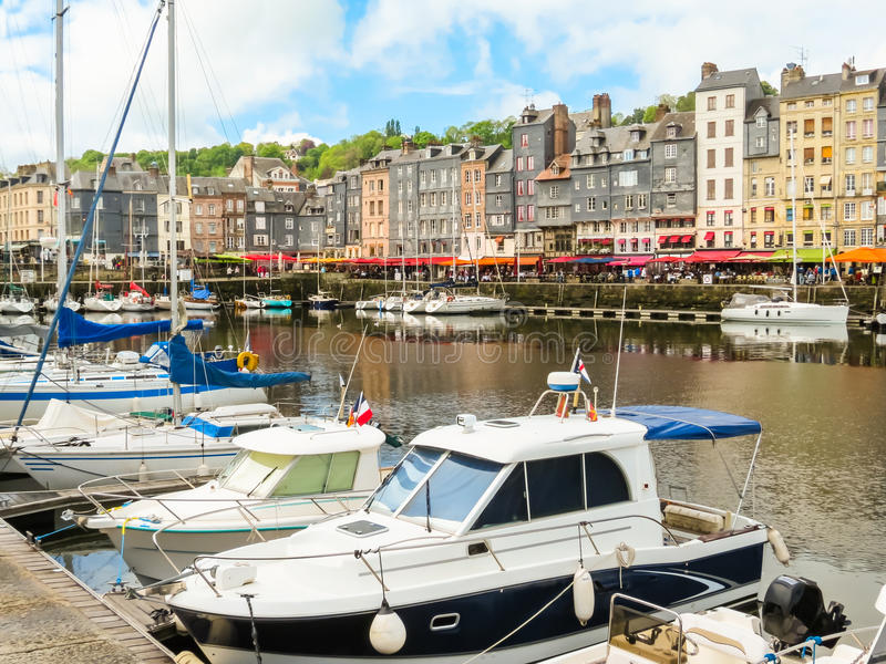 Old port. Honfleur, Normandy, France stock photography