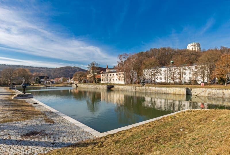 Old Port of the Ludwig Danube Main Canal in Kelheim. Bavaria, Germany stock photo
