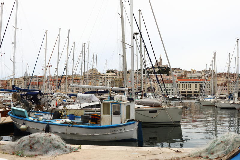 The old port of Marseille, France stock photography