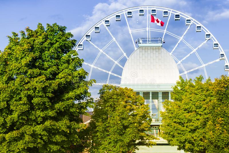 Old port of Montreal. Panoramic wheel in the old port of Montreal, Quebec stock image