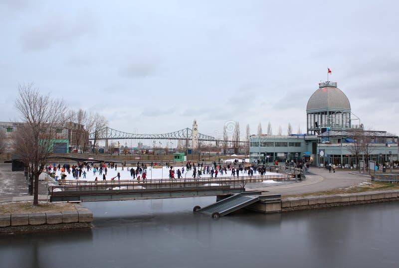 Old Port Montreal Skating royalty free stock image