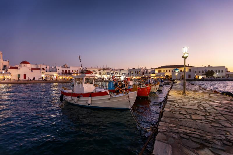 The old port of Mykonos island with traditional fisher boats, Greece stock photography