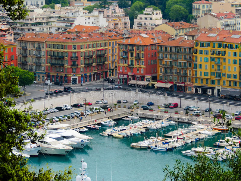 Old port of Nice, France. Color boats mooring in the Old port of Nice, France stock images