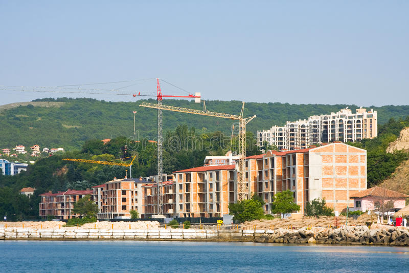 Old port quay in Balchik. The town of Balchik on the Black sea coast, Bulgaria royalty free stock photo