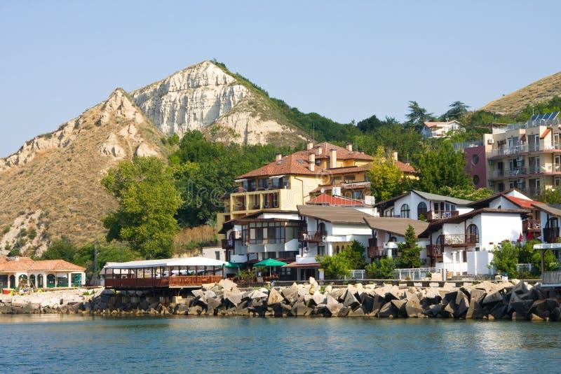 Old port quay in Balchik. The town of Balchik on the Black sea coast, Bulgaria stock images