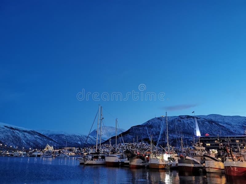 Old port sailing boat at Tromso Norway stock photos