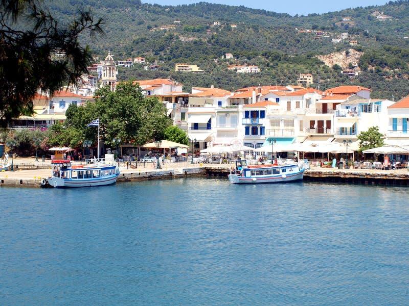 The old port, Skiathos Town, Greece. stock photos