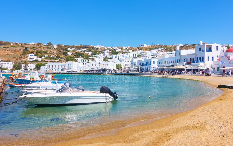 Old port and waterfront in Mykonos stock photo