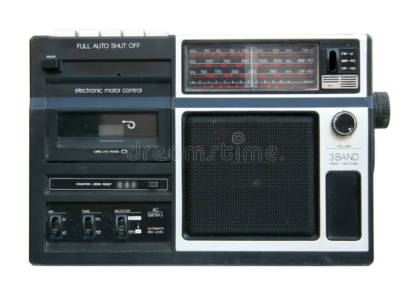 Old portable radio cassette player stock photos
