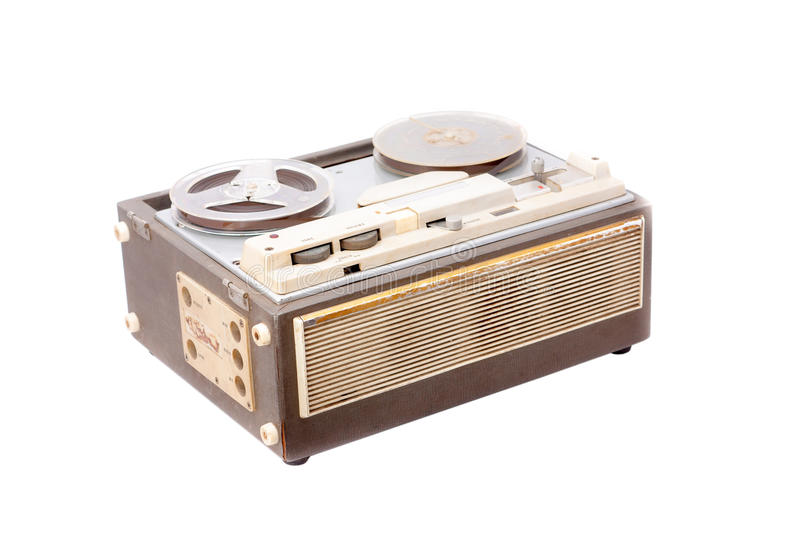 Old portable reel to reel tube tape-recorder royalty free stock photo