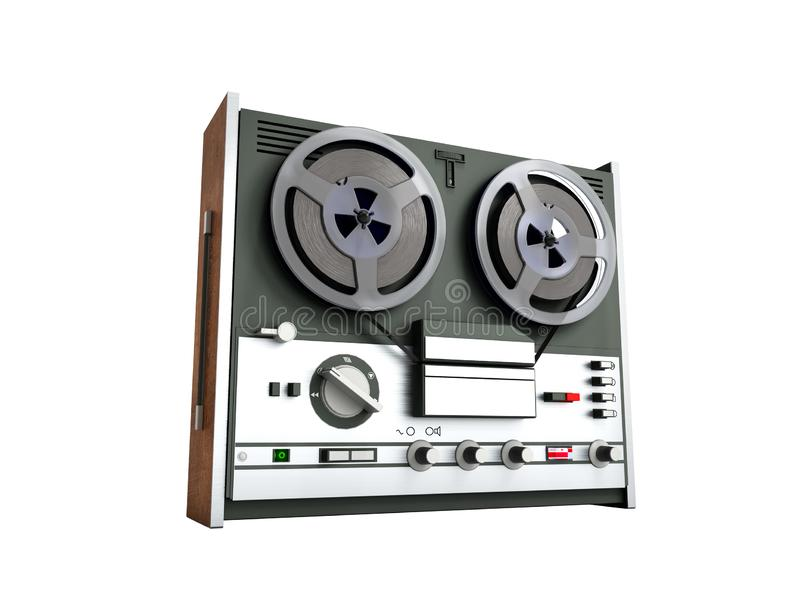 Old portable reel to reel tube tape recorder 3d render on white no shadow. Old portable reel to reel tube tape recorder 3d render on white no stock illustration