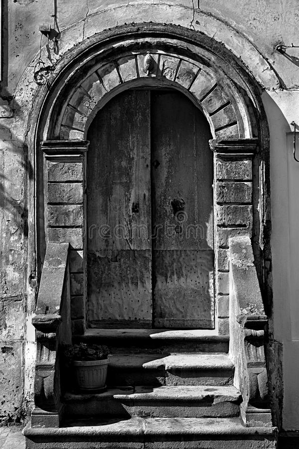 Old portal with pot royalty free stock photography