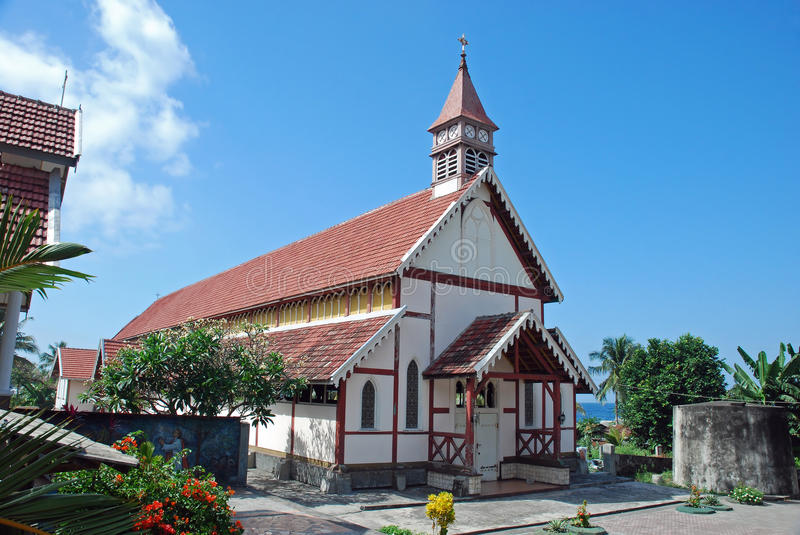 Old Portuguese Catholic church, Flores, Indonesia stock photography