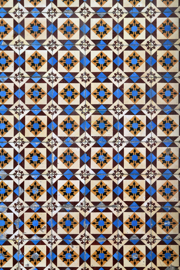 Old Portuguese tiles. Detailed pattern of old Portuguese ceramic tiles royalty free stock photography