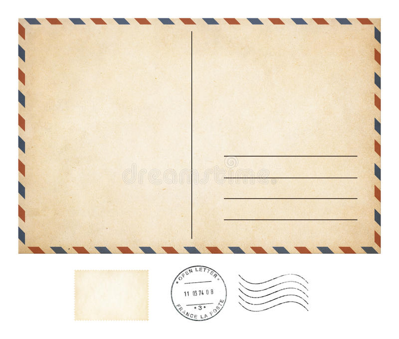 Old post card and stamp collection. Isolated royalty free stock photography