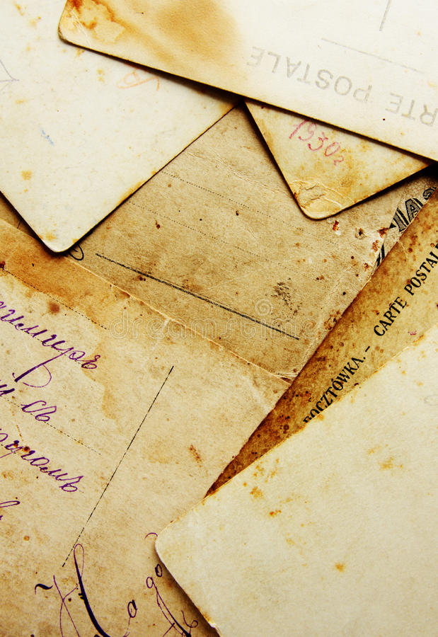 Old post cards. Background from rear view of old post cards royalty free stock photography