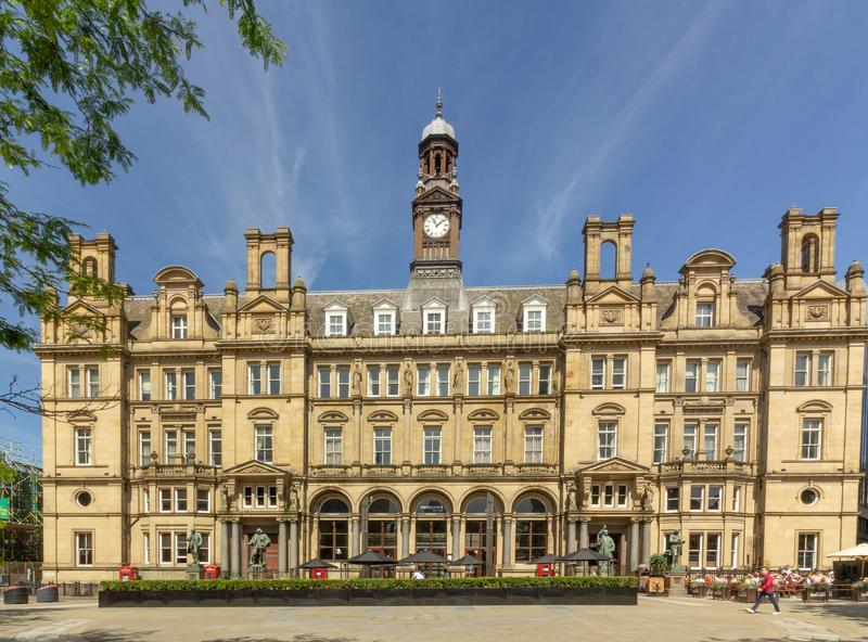 LEEDS CITY CENTRE, WEST YORKSHIRE, UK - JUNE 24th 2018. The Old Post Office Building in City Square, Leeds. Converted into offices and a restaurant on the stock photo