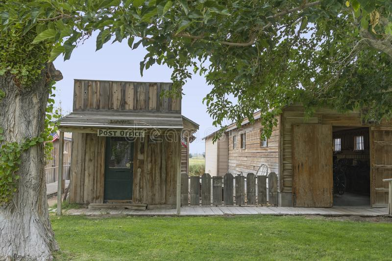 Old Post Office. An old post office building located at Laws railroad museum near Bishop in California stock images