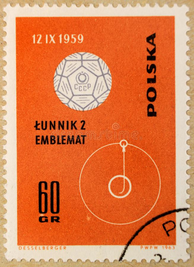 Old post stamp of Poland, dedicated to space exploration and first satellites. stock photography
